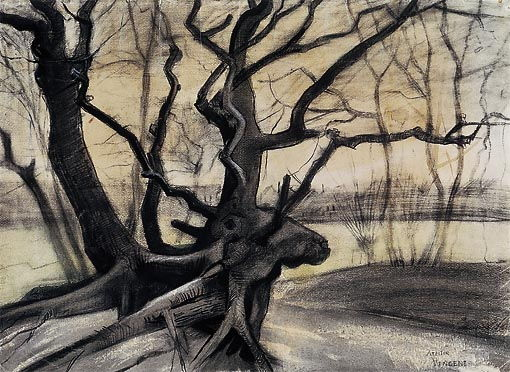 Vincent van Gogh (1853–1890), Tree roots in a Sandy Ground ('Les racines') (1882), drawing, 51.5 × 70.7 cm, Kröller-Müller Museum, Otterlo. Wikimedia Commons.