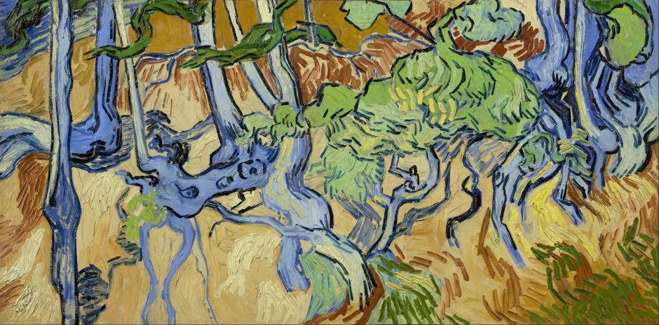 Vincent van Gogh (1853–1890), Tree Roots and Trunks (1890), oil on canvas, 50 x 100 cm, Van Gogh Museum, Amsterdam. Wikimedia Commons.