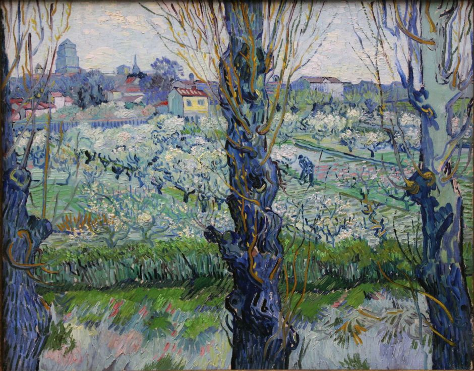 Vincent van Gogh (1853–1890), View of Arles, Flowering Orchards (1889), oil on canvas, 72 × 92 cm, Neue Pinakothek, Munich. Wikimedia Commons.