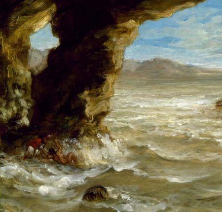 Eugène Delacroix (1798–1863), Shipwreck off a Coast (detail) (1862), oil on canvas, 38.1 x 45.1 cm, Museum of Fine Arts, Houston, TX. Wikimedia Commons.