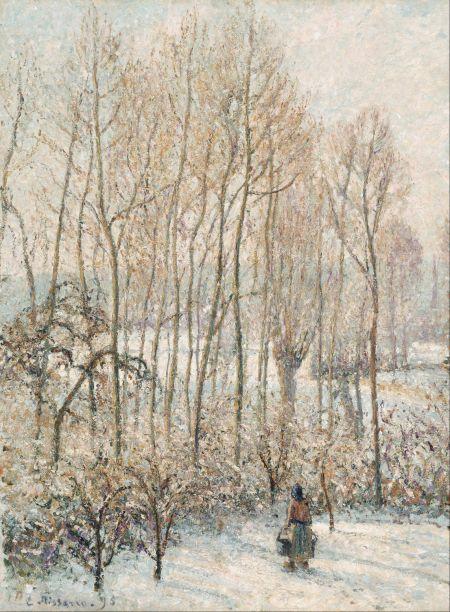 Camille Pissarro (1830–1903), Morning Sunlight on the Snow, Eragny-sur-Epte (1895), oil on canvas, 82.3 x 61.6 cm, Museum of Fine Arts, Boston, MA. Wikimedia Commons.