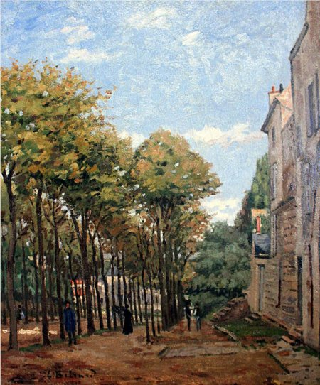 Édouard Béliard (1832-1912), Boulevard de Fossés in Pontoise (1872-3), media and dimensions not known, location not known. Photo by postlucemtenebrae, via Wikimedia Commons.