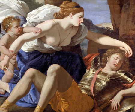 Nicolas Poussin (1594–1665), [name of painting withheld: see text] (detail) (c 1630), oil on canvas, 82.2 x 109.2 cm, Dulwich Picture Gallery. Wikimedia Commons.