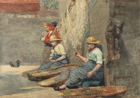 Winslow Homer (1836–1910), Fishergirls Coiling Tackle (Fisherman's Daughters) (1881), watercolor on paper, 35.6 × 50.2 cm, Private collection. Wikimedia Commons.