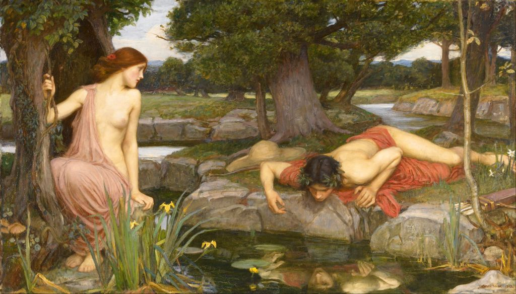 John William Waterhouse (1849–1917), Echo and Narcissus (1903), oil on canvas, 109.2 x 189.2 cm, Walker Art Gallery, Liverpool, England. Wikimedia Commons.