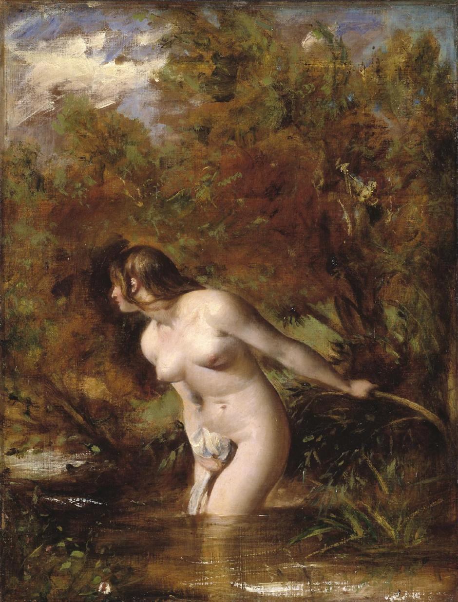 Musidora: The Bather 'At the Doubtful Breeze Alarmed', replica ?exhibited 1846 by William Etty 1787-1849