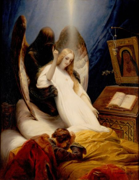 Horace Vernet (1789–1863), The Angel of Death (1851), oil on canvas, 146 x 113 cm, The Hermitage Museum, St. Petersburg, Russia. Wikimedia Commons.