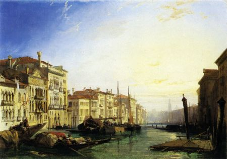 Richard Parkes Bonington (1802–1828), Grand Canal, the Rialto in the Distance - Sunrise (1828) (242), oil on canvas, 43 x 61 cm, Private collection. Wikimedia Commons.