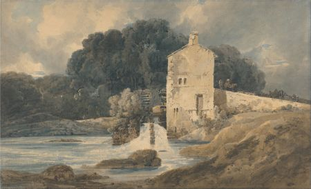 Thomas Girtin (1775–1802), The Abbey Mill, Knaresborough (1801), watercolor, 32.2 x 52.5 cm, Yale Center for British Art, New Haven, CT. Wikimedia Commons.