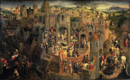 Hans Memling (c 1433–1494), Scenes from the Passion of Christ (1470-1), oil on oak panel, 56.7 x 92.2 cm, Sabauda Gallery, Turin, Italy. Wikimedia Commons.
