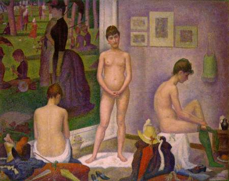 Georges Seurat (1859–1891), Poseuses (1886-8), oil on canvas, 200 x 249.9 cm, The Barnes Foundation, Philadelphia. Wikimedia Commons.