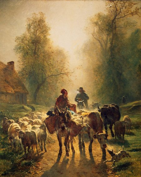 Constant Troyon (1810–1865), On the Way to Market (1859), oil on canvas, 260.5 x 211 cm, Hermitage Museum, Saint Petersburg. Wikimedia Commons.
