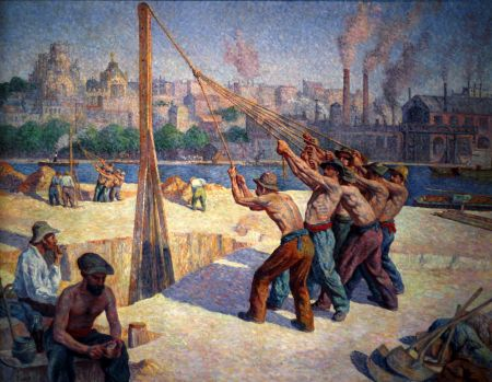 Maximilien Luce (1858–1941), The Pile Drivers (1902-3), oil on canvas, 153 x 195 cm, Musée d'Orsay, Paris. Wikimedia Commons.