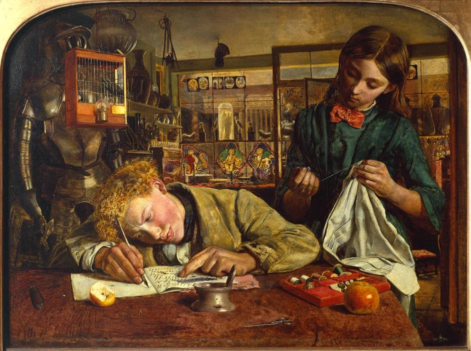 Kit's Writing Lesson 1852 by Robert Braithwaite Martineau 1826-1869