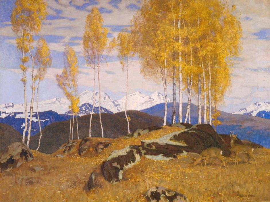 Autumn in the Mountains exhibited 1903 by Adrian Stokes 1854-1935