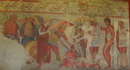 Unknown, Fresco in the François Tomb (copy by Augusto Guido Gatti in 1931 of original from c 340 BCE), Vulci, moved to Villa Torlonia già Albani, Rome. By Battlelight, via Wikimedia Commons.