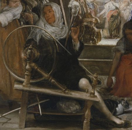 Diego Velázquez (1599–1660), The Spinners (Las Hilanderas, The Fable of Arachne) (detail) (c 1657), oil on canvas, 220 x 289 cm, original 167 cm × 252 cm, Museo Nacional Del Prado, Madrid. Wikimedia Commons.