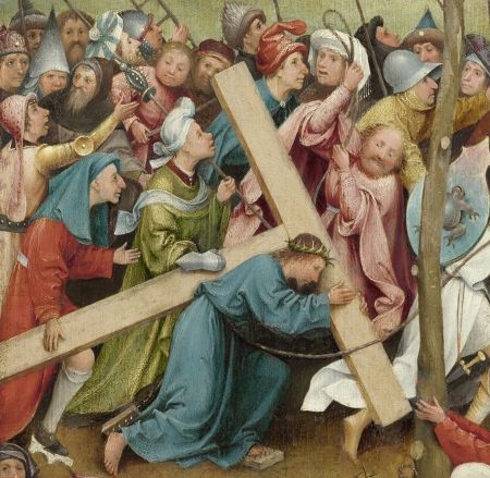 Hieronymus Bosch (c 1450–1516), Christ Carrying the Cross (detail) (1490-1510) (CR no. 12), oil on oak panel, 59.7 x 32 cm, Gemäldegalerie, Kunsthistorisches Museum, Vienna. © Kunsthistorisches Museum, Gemäldergalerie, KHM-Museumsverband, Wenen, via Wikimedia Commons.
