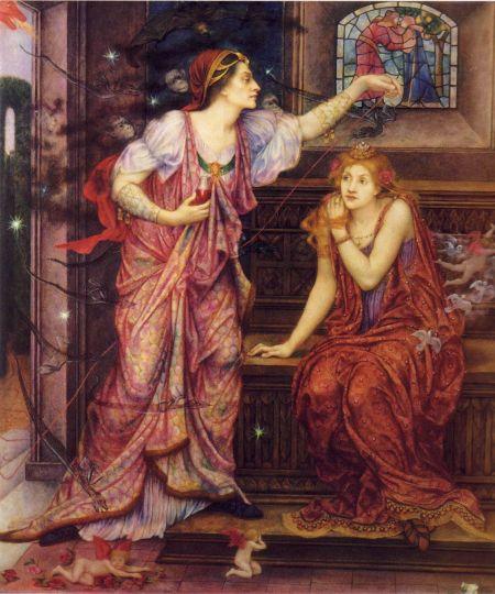 Evelyn De Morgan (1855–1919), Queen Eleanor and Fair Rosamund (1880-1919), oil on canvas, 73.7 x 64.8 cm, The De Morgan Centre, Guildford, Surrey, England. Wikimedia Commons.