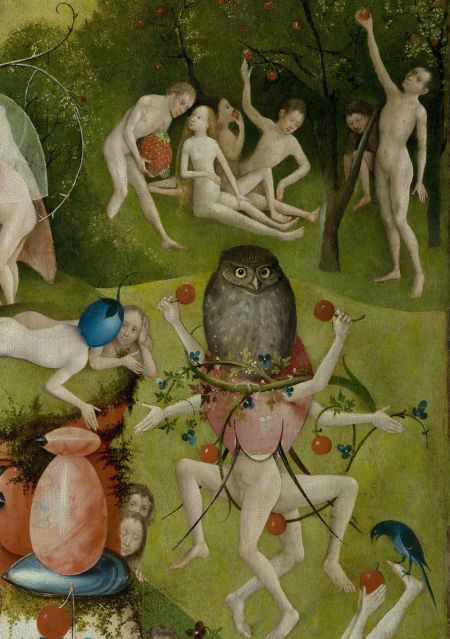 Hieronymus Bosch (c 1450–1516), The Garden of Earthly Delights (centre panel, detail) (c 1495-1505), oil on oak panel, central panel 190 × 175 cm, each wing 187.5 × 76.5 cm, Museo Nacional del Prado, Madrid. Wikimedia Commons.