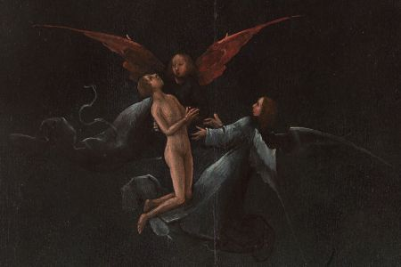 Hieronymus Bosch (c 1450–1516), Ascent of the Blessed (panel from Visions of the Hereafter) (detail) (1505-15), oil on oak panel, 88.8 x 39.9 cm, Museo di Palazzo Grimani, Venice. Photo Rik Klein Gotink and image processing Robert G. Erdmann for the Bosch Research and Conservation Project, via Wikimedia Commons.