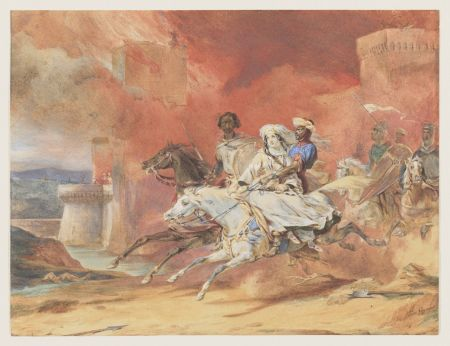 Léon Cogniet (1794–1880), The Abduction of Rebecca by Brian de Bois-Guilbert (study) (c 1828), watercolor and graphite on white wove paper, 23.2 x 30.3 cm, Bowdoin College Museum of Art (Museum Purchase, Lloyd O. and Marjorie Strong Coulter Fund),  Brunswick, Maine. Courtesy of Bowdoin College Museum of Art.