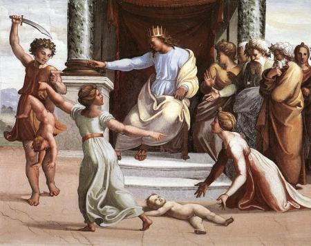 Raffaello Sanzio da Urbino (Raphael) (1483–1520), The Judgment of Solomon (1518-19), fresco, Loggia di Raffaello, Apostolic Palace, Vatican City. Wikimedia Commons.