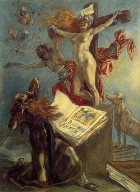 Félicien Rops (1833–1898), The Temptation of Saint Anthony (1878), pastel and gouache on paper, 73.8 × 54.3 cm, Cabinet des estampes, Bibliothèque Royale Albert Ier, Brussels. Wikimedia Commons.