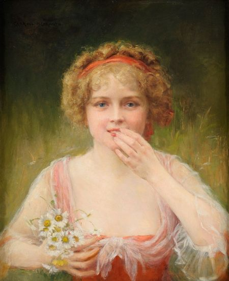 James Carroll Beckwith (1852–1917), Girl with Flowers (date not known), oil on mahogany, 60 x 49 cm, Private collection. Wikimedia Commons.