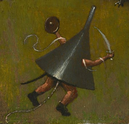 Hieronymus Bosch (c 1450–1516), The Temptation of Saint Anthony (fragment) (detail) (c 1500–10), oil on oak panel, 38.6 × 25.1 cm, The Nelson-Atkins Museum of Art, Kansas City, MO. Photo Rik Klein Gotink and image processing Robert G. Erdmann for the Bosch Research and Conservation Project, via Wikimedia Commons.