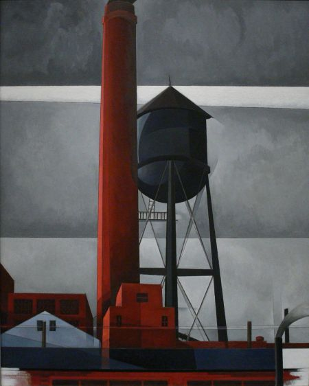 Charles Demuth (1883–1935), Chimney and Water Tower (1931), oil on board, dimensions not known, Amon Carter Museum of American Art, Fort Worth, TX. Wikimedia Commons.