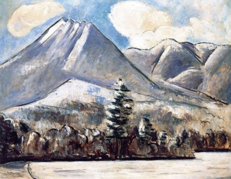 Marsden Hartley (1877–1943), Mount Katahdin, Maine, First Snow, No. 1 (1939-40), oil on academy board, 22 x 28 cm, Private collection. The Athenaeum.