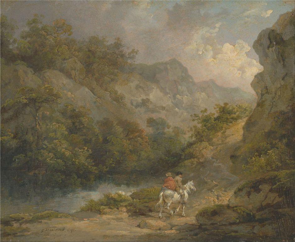 morlandrockylandscapetwomenhorse