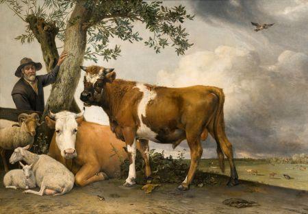 Paulus Potter (1625–1654), The Bull (1647), oil on canvas, 235.5 x 339 cm, Koninklijk Kabinet van Schilderijen Mauritshuis, The Hague. Wikimedia Commons.