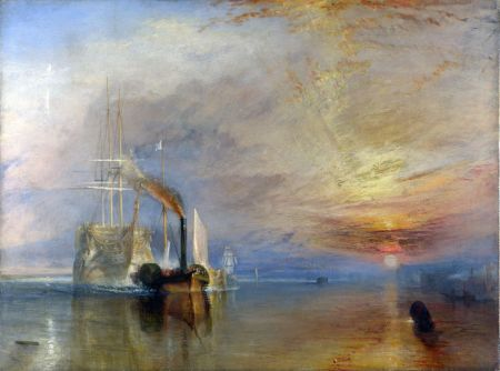 Joseph Mallord William Turner (1775–1851), The Fighting Temeraire tugged to her last Berth to be broken up (1839), oil on canvas, 90.7 × 121.6 cm, The National Gallery, London. Wikimedia Commons.