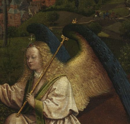 Jan van Eyck (c 1390–1441), Three Marys at the Tomb (detail) (c 1425-1441), oil on oak panel, 71.5 x 90 cm, Museum Boijmans Van Beuningen, Rotterdam, The Netherlands. Wikimedia Commons.