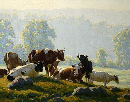 Edward Charles Volkert (1871-1935), Cows in a Sunlit Pasture (date not known), oil on canvas, 40.6 x 50.8 cm, Private collection.