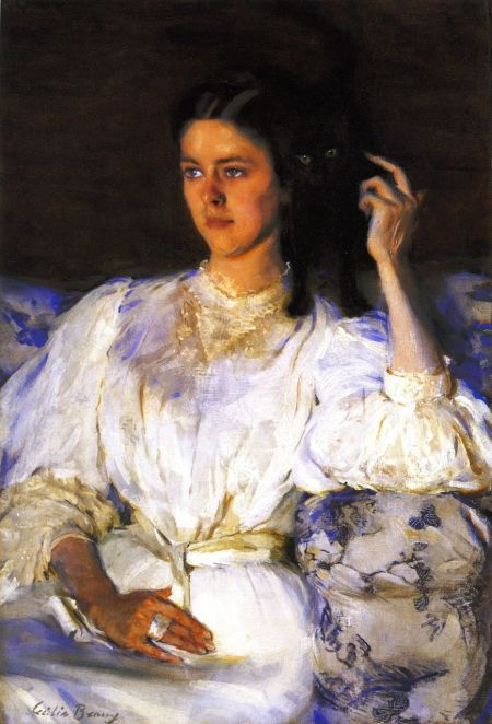 Cecilia Beaux (1855–1942), Sita and Sarita (Young Woman with Cat) (c 1893-94), oil on canvas, 94.6 x 63.5 cm, Musée d'Orsay, Paris. The Athenaeum.