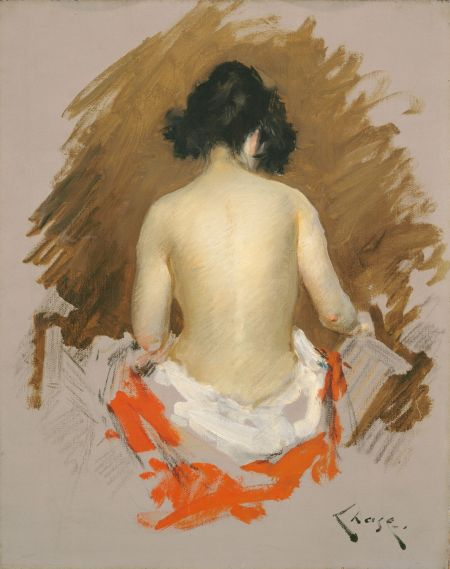 William Merritt Chase (1849–1916), Nude (c 1901), oil on canvas, 50.6 x 41 cm, The National Gallery of Art, Washington, DC. Wikimedia Commons.