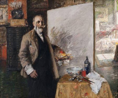 William Merritt Chase (1849–1916), Self Portrait in 4th Avenue Studio (1915-16), oil on canvas, 133.4 x 161.3 cm, The Richmond Art Museum, Richmond, IN. Wikimedia Commons.