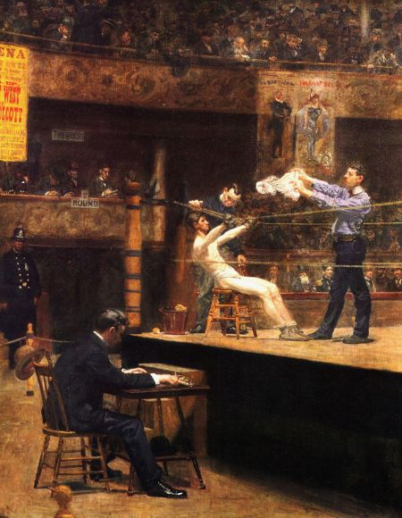 Thomas Eakins (1844–1916), Between Rounds (1898-99), oil on canvas, 127.3 × 101.3 cm, Philadelphia Museum of Art, Philadelphia, PA. Wikimedia Commons.