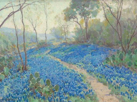 Julian Onderdonk (1882–1922), A Hillside of Blue Bonnets - Early Morning, Near San Antonio Texas (1916), oil on canvas, 45.7 × 61 cm, Private collection. Wikimedia Commons.