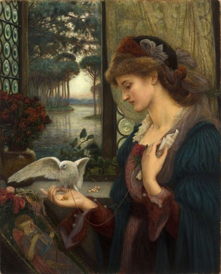 Marie Spartali Stillman (1844–1927), Love's Messenger (1885), watercolor, tempera and gold paint on paper mounted on wood, 81.3 × 66 cm, Delaware Art Museum, Wilmington, DE. Wikimedia Commons.