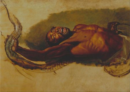 """James Ward (1769–1859), Man Struggling with a Boa Constrictor, Study for """"Liboya Serpent Seizing its Prey"""" (c 1803), oil on canvas, 83.8 x 119.4 cm, Yale Center for British Art, New Haven, CT. Wikimedia Commons."""