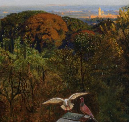 Ford Madox Brown (1821–1893), An English Autumn Afternoon, 1852-1853 (detail) (1854), oil on canvas, 71.7 x 134.6 cm, Birmingham Museum and Art Gallery, Birmingham, England. Wikimedia Commons.