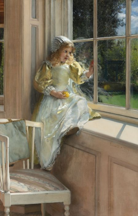 Laura Theresa Alma-Tadema (1852–1909), A Looking out o'Window, Sunshine (1881), oil on canvas, 62 × 40 cm, Private collection. Wikimedia Commons.