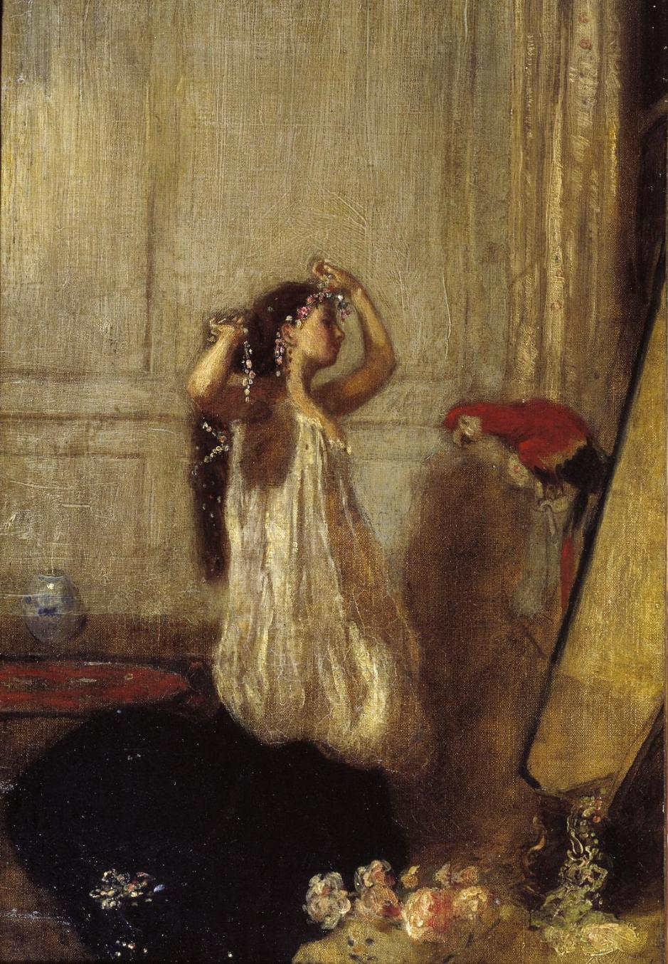 A Girl with a Parrot c.1893 by Henry Tonks 1862-1937
