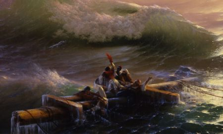 Ivan/Hovhannes Aivazovsky (1817–1900), The Ninth Wave Девятый вал (detail) (1850), oil on canvas, 221 x 332 cm, State Russian Museum Государственный Русский музей, Saint Petersburg, Russia. Wikimedia Commons.