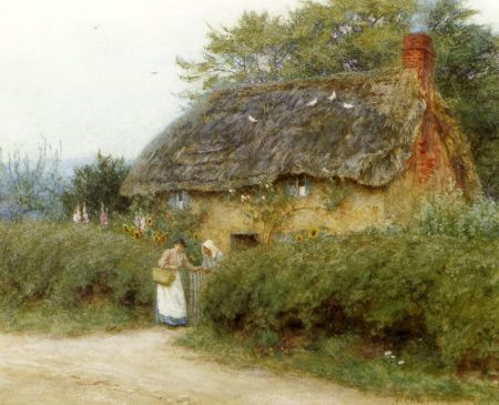 Helen Allingham (1848-1926), A Cottage With Sunflowers, Peaslake (date not known), watercolour, further details not known. Wikimedia Commons.