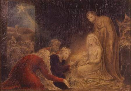 William Blake (1757–1827), Adoration of the Kings (1799), tempera on canvas, 25.7 x 37 cm, Brighton and Hove Museums & Art Galleries, Brighton, England. The Athenaeum.